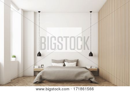 Bedroom With Picture And Wooden Wall