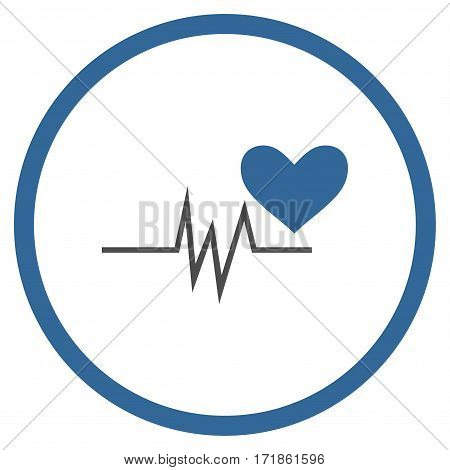Heart Pulse Signal rounded icon. Vector illustration style is flat iconic bicolor symbol inside circle cobalt and gray colors white background.