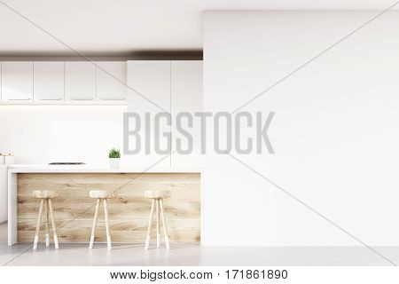 Close up of kitchen bar made of light wood and three stools standing near it. There is a white cupboard and a blank wall fragment. 3d rendering. Mock up.
