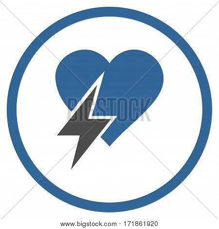 Heart Shock rounded icon. Vector illustration style is flat iconic bicolor symbol inside circle cobalt and gray colors white background.