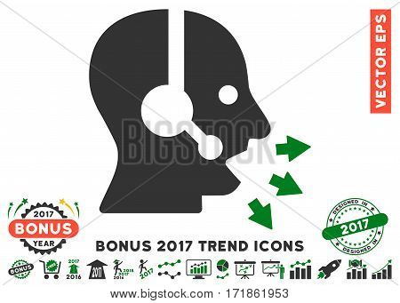 Green And Gray Operator Speak pictograph with bonus 2017 trend pictograph collection. Vector illustration style is flat iconic bicolor symbols white background.