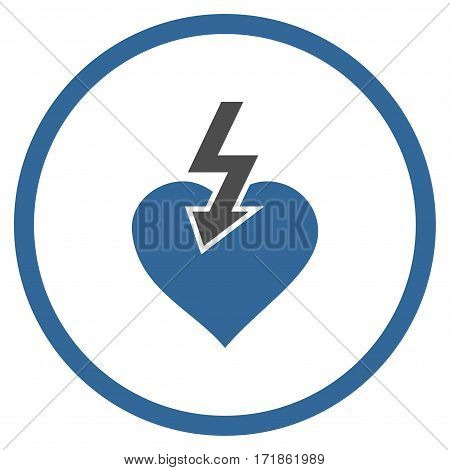 Heart Shock Strike rounded icon. Vector illustration style is flat iconic bicolor symbol inside circle cobalt and gray colors white background.
