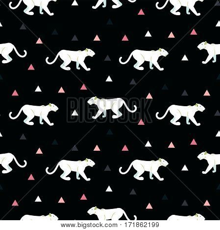 Silhouette of cougar seamless black pattern. White wild cat on black background with pink triangles.