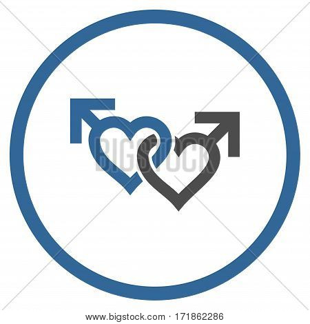 Linked Gay Hearts rounded icon. Vector illustration style is flat iconic bicolor symbol inside circle cobalt and gray colors white background.