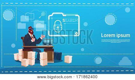 Business Man Wear Digital Virtual Reality Glasses Sitting Desk Working Computer Lock Data Protection Flat Vector Illustration