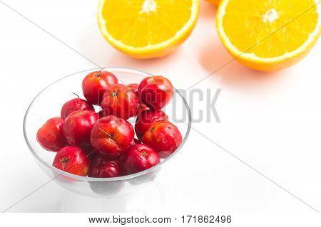Brazilian Acerola Cherry And Orange Fruit