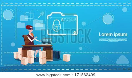 Business Woman Wear Digital Virtual Reality Glasses Sitting Desk Working Computer Lock Data Protection Flat Vector Illustration