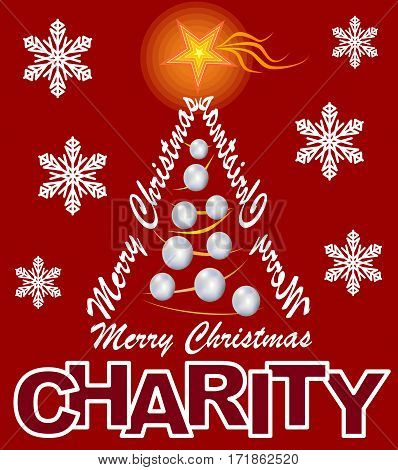 Charity flyer with Christmas tree composed of letters - inscription Merry Christmas.