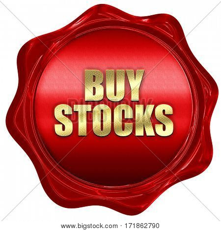 buy stocks, 3D rendering, red wax stamp with text