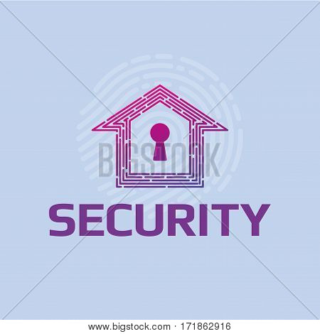 Logo vector cybersecurity Smart home thumbprint keyhole