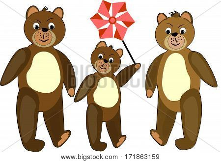 Teddy bear family. Teddy bear group. Teddy bear illustration. Three teddy bears. Brown teddy bear. Teddy bear illustration for children. Walking teddy bears.