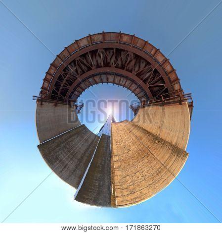 Circular panorama of concrete railway bridge shot from below