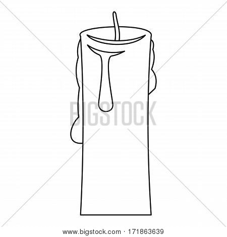 One candle icon. Outline illustration of one candle vector icon for web