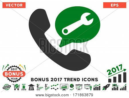 Green And Gray Phone Service Message icon with bonus 2017 trend pictures. Vector illustration style is flat iconic bicolor symbols white background.