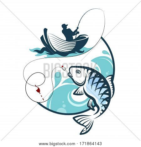 Fisherman fishing from a boat silhouette vector
