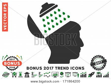 Green And Gray Propaganda Brain Shower pictogram with bonus 2017 year trend clip art. Vector illustration style is flat iconic bicolor symbols white background.