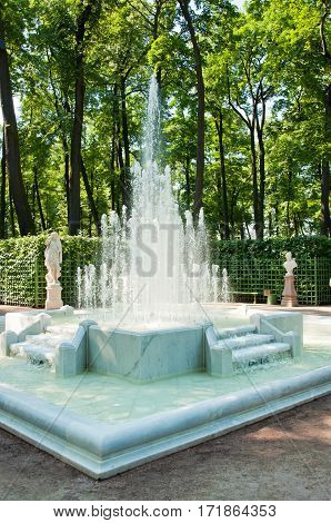 The beautiful marble fountain in the Summer garden in Saint-Petersburg Russia