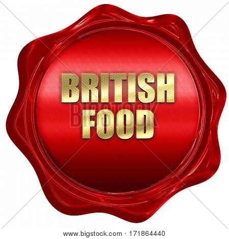 british food, 3D rendering, red wax stamp with text