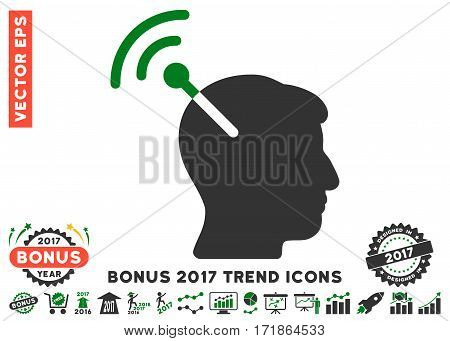 Green And Gray Radio Neural Interface pictograph with bonus 2017 year trend symbols. Vector illustration style is flat iconic bicolor symbols white background.