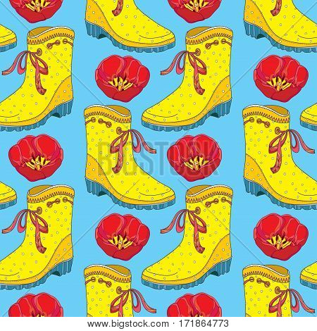Vector seamless pattern with red tulips flower and yellow rubber boot with bow on the blue background. Floral background in contour style with tulip and gumboot for spring design.