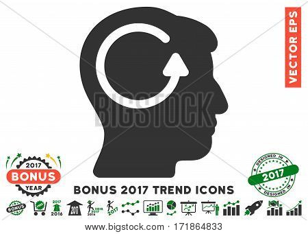 Green And Gray Refresh Head Memory pictograph with bonus 2017 year trend design elements. Vector illustration style is flat iconic bicolor symbols white background.