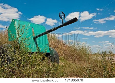 Anti aircraft gun 1940 on blue sky background. Weapons of the Red Army during the Second World War