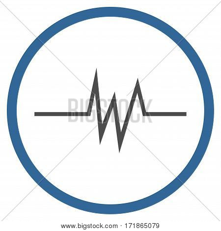 Pulse Signal rounded icon. Vector illustration style is flat iconic bicolor symbol inside circle cobalt and gray colors white background.