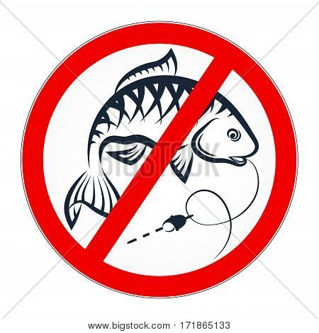 Fishing is prohibited for banner vector illustration