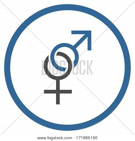 Sex Symbol rounded icon. Vector illustration style is flat iconic bicolor symbol inside circle cobalt and gray colors white background.