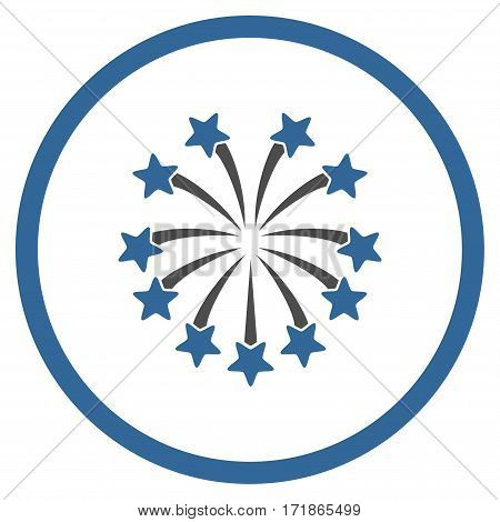 Spherical Fireworks rounded icon. Vector illustration style is flat iconic bicolor symbol inside circle cobalt and gray colors white background.