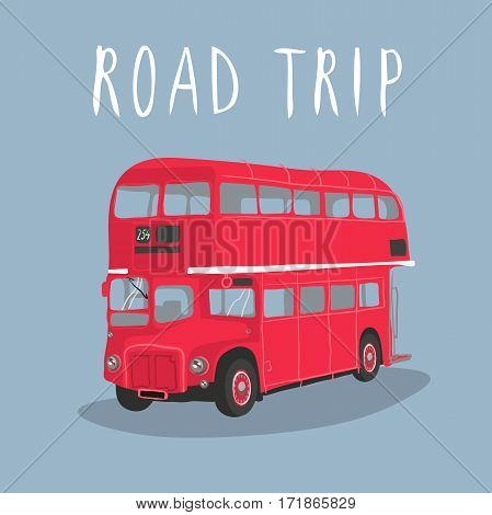 Double decker red bus vector illustration. City public transport . retro-bus isolated on a white background
