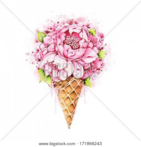 Watercolor illustration of hand painted peonies in waffle cone