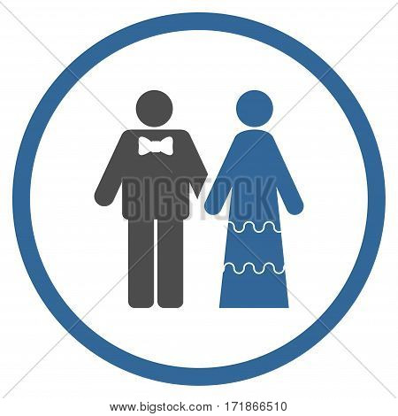 Wedding Persons rounded icon. Vector illustration style is flat iconic bicolor symbol inside circle cobalt and gray colors white background.