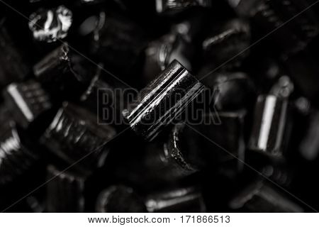 Close Up of Small Black Licorice Lozenges