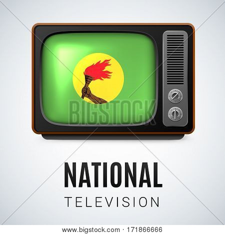 Vintage TV and Flag of Zaire as Symbol National Television. Tele Receiver with Zairean flag