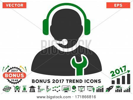 Green And Gray Service Operator pictograph with bonus 2017 trend clip art. Vector illustration style is flat iconic bicolor symbols white background.