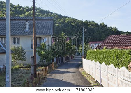 POLYANA UKRAINE - AUGUST 1 2015: Polyana village - one of the most famous centers of mineral waters of Transcarpathia. Larger homes tend to give up in the hiring of visitors