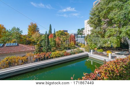 Bright sun shines on algae green water in storage reservoir.   Beautiful trees & gardens it supplies if full color.  Urban park setting in Madrid.  Rooftop part of Prado Museum.  Park benches in quiet semi-circular setting.  Wrought iron safety fence.