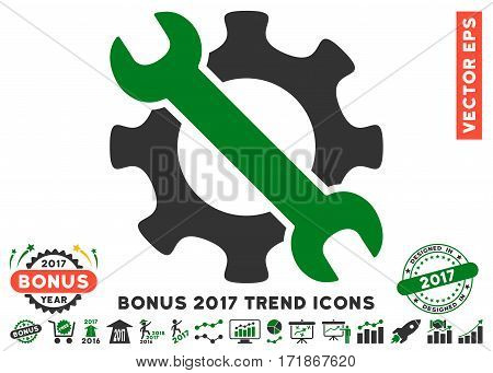 Green And Gray Service Tools pictograph with bonus 2017 year trend pictograph collection. Vector illustration style is flat iconic bicolor symbols white background.