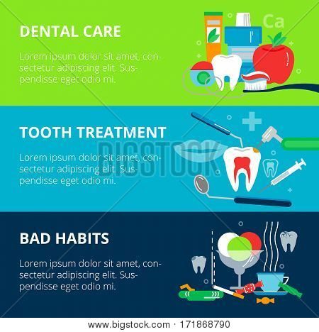 Modern flat design vector illustration concepts of dental care bad habits and tooth treatment for graphic and web design