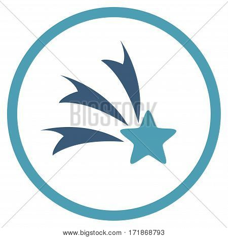 Falling Star rounded icon. Vector illustration style is flat iconic bicolor symbol inside circle cyan and blue colors white background.