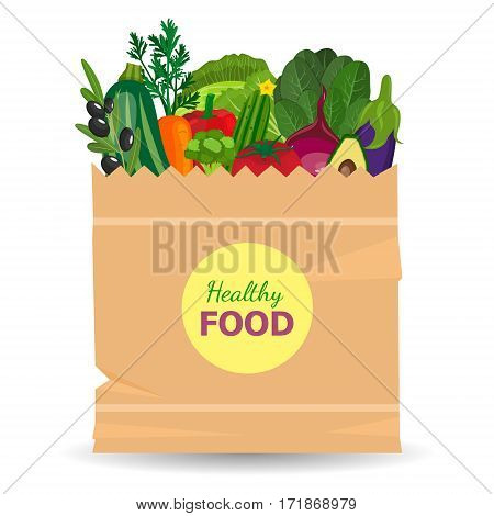Healthy vegetables and vegetarian food banners. Fresh organic food, healthy eating. Basket with vegetables isolated on white background. Vector illustration.