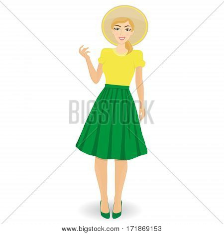 Stylish beautiful girl wearing fashion clothes and hat. Detailed cute graphic woman. Girl in pink t-shirt and blue skirt.