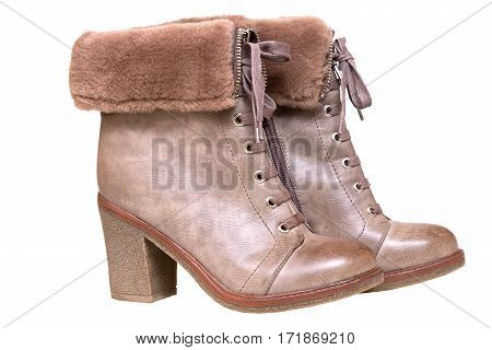 Women's shoes. Brown winter boots on white background
