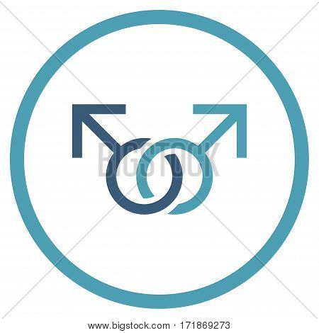 Gay Love Symbol rounded icon. Vector illustration style is flat iconic bicolor symbol inside circle cyan and blue colors white background.