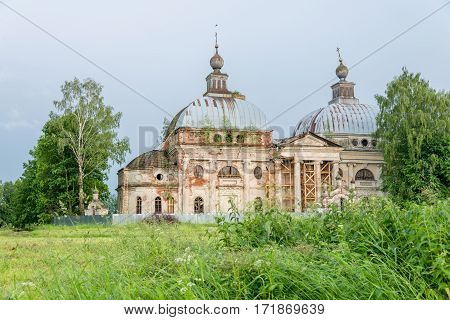 Landmark with old temple Yaropolets Volokolamsk district Moscow region Russia.