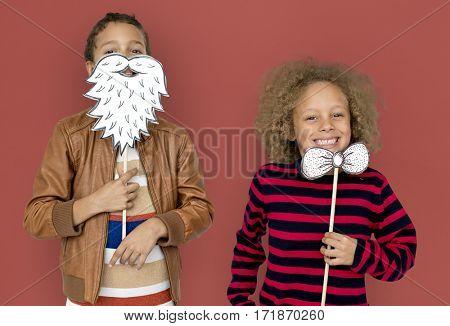 Little Children Posing Papercrafted Beard Bowtie