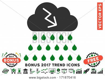 Green And Gray Thunderstorm Rain Cloud pictograph with bonus 2017 trend icon set. Vector illustration style is flat iconic bicolor symbols white background.