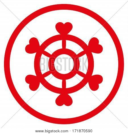Lovely Boat Steering Wheel rounded icon. Vector illustration style is flat iconic bicolor symbol inside circle intensive red and black colors white background.