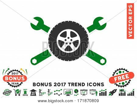 Green And Gray Tire Service Wrenches pictograph with bonus 2017 year trend pictograph collection. Vector illustration style is flat iconic bicolor symbols white background.